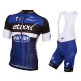 Equipement 2017 Etixx-Quick Step Bleu Tenue Maillot Cyclisme Courte + Cuissard à Bretelles Europe