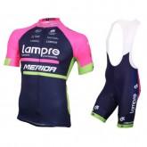 Equipement 2017 Lampre Merida Tenue Maillot Cyclisme Courte + Cuissard à Bretelles Vendre Cannes