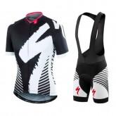 Equipement 2017 SPED Equipe LS Noir-Blanc Tenue Maillot Cyclisme Courte + Cuissard à Bretelles Vente En Ligne
