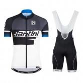 Equipement 2017 Santini Atom 2.0 Noir-Blanc-Bleu Tenue Maillot Cyclisme Courte + Cuissard à Bretelles Paris