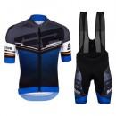 Equipement 2017 Santini Interactive 3.0 Noir-Bleu Tenue Maillot Cyclisme Courte + Cuissard à Bretelles En Soldes
