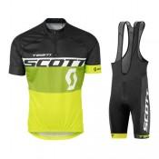 Equipement 2017 Scott Equipe Noir-vert-Jaune Tenue Maillot Cyclisme Courte + Cuissard à Bretelles Réduction Prix