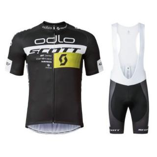 Equipement 2017 Scott ODLO Equipe Noir Tenue Maillot Cyclisme Courte + Cuissard à Bretelles Promotions