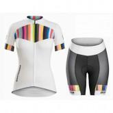 Equipement 2017 Tenue Maillot Cyclisme Courte + Cuissard Cycliste Bontrager Anara Femme Blanc et Color Stripes Promotions