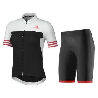 Equipement 2017 Tenue Maillot Cyclisme Courte + Cuissard à Bretelles ADIDS Aero Femme Blanc-Noir-Rouge Acheter