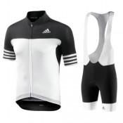 Equipement 2017 Tenue Maillot Cyclisme Courte + Cuissard à Bretelles Aero Homme Noir-Blanc Escompte En Lgine