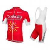 Equipement 2017 Tenue Maillot Cyclisme Courte + Cuissard à Bretelles Cofidis Equipe Boutique En Ligne