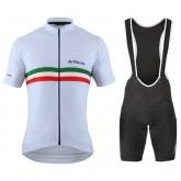 Equipement 2017 Tenue Maillot Cyclisme Courte + Cuissard à Bretelles De Marchi PT Italie Flag Blanc Rabais en ligne
