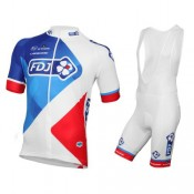 Equipement 2017 Tenue Maillot Cyclisme Courte + Cuissard à Bretelles Equipe FDJ Blanc Remise prix