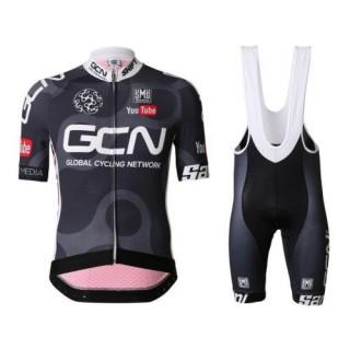 Equipement 2017 Tenue Maillot Cyclisme Courte + Cuissard à Bretelles Equipe GCN Noir et Rouge Vendre Marseille