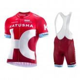 Equipement 2017 Tenue Maillot Cyclisme Courte + Cuissard à Bretelles Equipe Katusha Promo prix