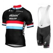 Equipement 2017 Tenue Maillot Cyclisme Courte + Cuissard à Bretelles Etixx-Quick Step Luxembourg Champion Noir Achat à Prix Bas