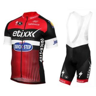 Equipement 2017 Tenue Maillot Cyclisme Courte + Cuissard à Bretelles Etixx-Quick Step TDF Edition Rouge Pas Cher Nice