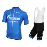 Equipement 2017 Tenue Maillot Cyclisme Courte + Cuissard à Bretelles Gazprom-Rusvelo Colnago Bleu Soldes Provence
