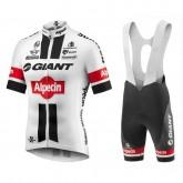 Equipement 2017 Tenue Maillot Cyclisme Courte + Cuissard à Bretelles Giant Alpecin TDF Edition Blanc Rabais prix