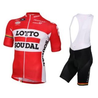 Equipement 2017 Tenue Maillot Cyclisme Courte + Cuissard à Bretelles Lotto Soudal Rouge Vendre Alsace