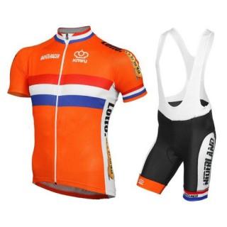 Equipement 2017 Tenue Maillot Cyclisme Courte + Cuissard à Bretelles Pays-Bas Equipe Prix En Gros