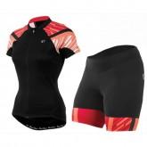 Equipement 2017 Tenue Maillot Cyclisme Courte + Cuissard à Bretelles Pearl Izumi Elite Noir-Orange Femme Réduction