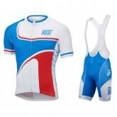Equipement 2017 Tenue Maillot Cyclisme Courte + Cuissard à Bretelles Rose Retro Bleu-Blanc Vendre Provence