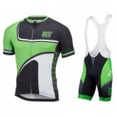 Equipement 2017 Tenue Maillot Cyclisme Courte + Cuissard à Bretelles Rose Retro Noir-vert Remise Lyon