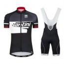 Equipement 2017 Tenue Maillot Cyclisme Courte + Cuissard à Bretelles Santini Atom 2.0 Noir-Blanc-Rouge en Promo