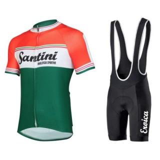 Equipement 2017 Tenue Maillot Cyclisme Courte + Cuissard à Bretelles Santini Exclusive Novi Ligure Pas Cher Provence