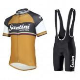 Equipement 2017 Tenue Maillot Cyclisme Courte + Cuissard à Bretelles Santini Exclusive Oro Antico Commerce De Gros