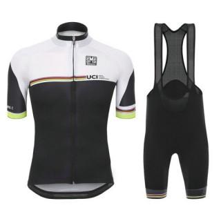 Equipement 2017 Tenue Maillot Cyclisme Courte + Cuissard à Bretelles Santini UCI Rainbow Line Blanc Promo Prix Paris