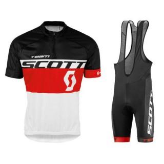 Equipement 2017 Tenue Maillot Cyclisme Courte + Cuissard à Bretelles Scott Equipe Noir-Rouge-Blanc Boutique Paris