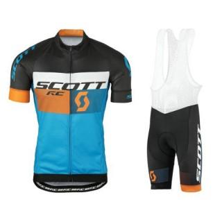 Equipement 2017 Tenue Maillot Cyclisme Courte + Cuissard à Bretelles Scott RC Noir-Jaune-Bleu Personnalisé