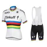 Equipement 2017 Tenue Maillot Cyclisme Courte + Cuissard à Bretelles Tinkoff Race Equipe Champion du monde Vendre à des Prix Bas