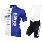 Equipement 2017 Tenue Maillot Cyclisme Courte + Cuissard à Bretelles Vermarc UHC Blanc-Bleu Réduction Prix