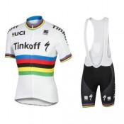 Equipement 2017 Tinkoff Race Equipe World Champion Tenue Maillot Cyclisme Courte + Cuissard à Bretelles Original