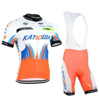 Equipement Tenue Maillot Cyclisme Courte + Cuissard à Bretelles katusha Blanc Orange Vendre Paris