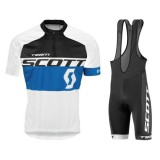 FR Equipement 2017 Tenue Maillot Cyclisme Courte + Cuissard à Bretelles Scott Equipe Noir-Bleu-Blanc