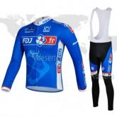 FR Tenue Maillot Cyclisme Longue + Collant à Bretelles FDJ.FR