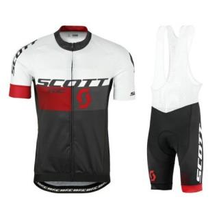 France Tenue Maillot Cyclisme Courte + Cuissard à Bretelles Scott RC Blanc-Noir-Rouge 2017