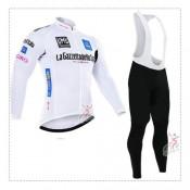 Giro de italie 2017 Tenue Maillot Cyclisme Longue + Collant à Bretelles Blanc Personnalisé