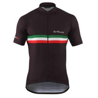 Maillot Cyclisme Manche Courte De Marchi PT Italie Flag Noir 2017 Remise Nice