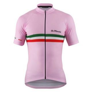 Maillot Cyclisme Manche Courte De Marchi PT Italie Flag Rose 2017 Boutique Paris