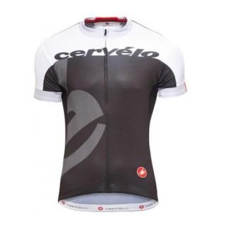 Maillot Cyclisme Manche Courte Equipe Cervelo Blanc-Noir 2016 Vendre Lyon