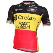Maillot Cyclisme Manche Courte Equipe Crelan AA Drink Belgium Champion 2016 France Magasin