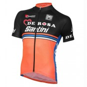 Maillot Cyclisme Manche Courte Equipe DE-ROSA Noir-Orange 2017 Pas Chere