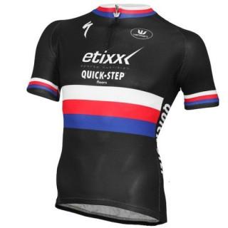 Maillot Cyclisme Manche Courte Etixx Quick-Step République Tchèque Champion 2016 Réduction Prix