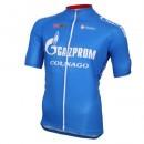 Maillot Cyclisme Manche Courte Gazprom-Rusvelo Colnago Bleu 2017 Prix France
