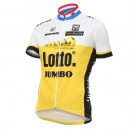Maillot Cyclisme Manche Courte Lotto-Jumbo Jaune 2017 Remise prix