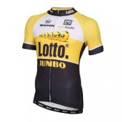 Maillot Cyclisme Manche Courte Lotto NL-Jumbo Jaune 2016 En Soldes