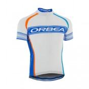 Maillot Cyclisme Manche Courte Orbea Blanc-Bleu Stripe 2016 Pas Cher Paris