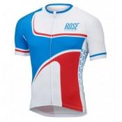 Maillot Cyclisme Manche Courte Rose Retro Bleu-Blanc 2017 Europe