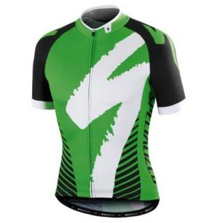 Maillot Cyclisme Manche Courte SPED Equipe LS Noir-vert 2017 Réduction Prix